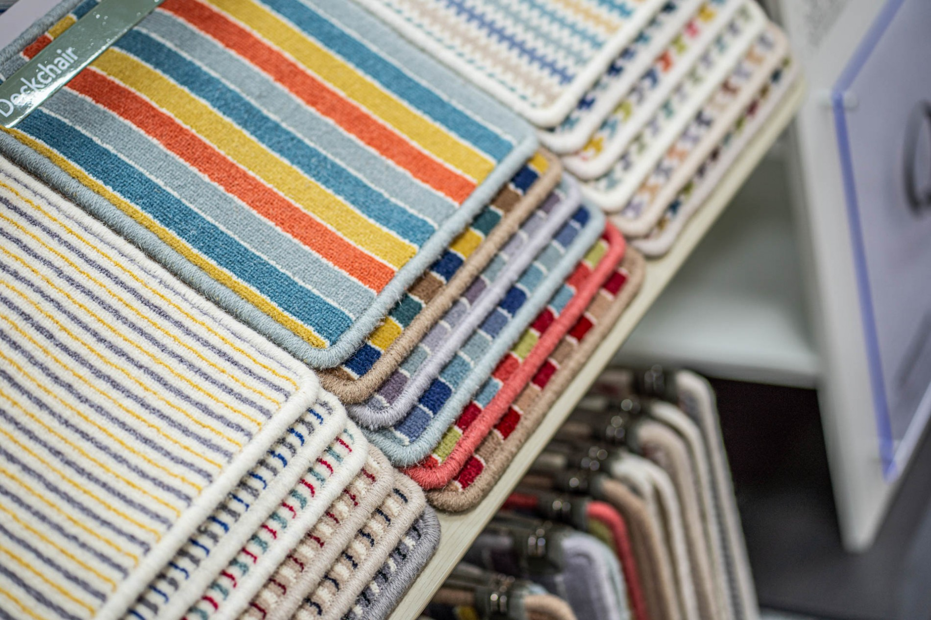 striped and colourful carpet samples at perthshire flooring